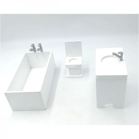 Dollhouse Furniture Bath Basin and Toilet