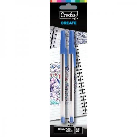 Croxley Pen Blue Carded 2 Piece