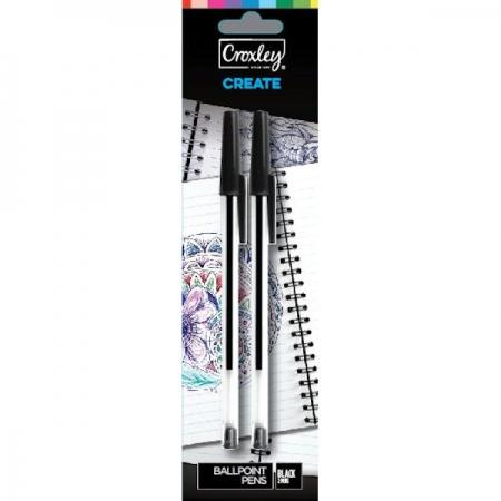 Croxley Pen Black Carded 2 Piece
