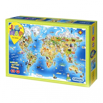Gibsons Puzzles 250Pce Jigmap World Children's