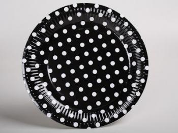 Black Dot Paper Plates (10)