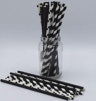 Black Mix Paper Straws 3Ply 6mm (60Pce)
