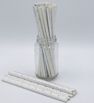 Silver Mix Paper Straws 3Ply 6mm (60Pce)