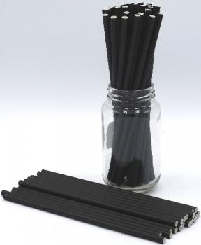 Black Plain Paper Straws 3Ply 6mm (100Pce)