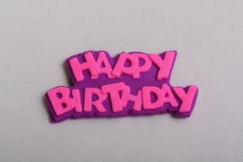 Pink Purple Happy Birthday Icing