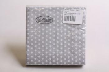 Silver 3 Ply Polka Dot Cocktail Serviette (20)