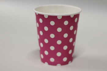Dot Stripe Hot Pink Paper Cup (10)