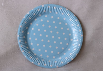 Dot Blue Paper Plate (10)