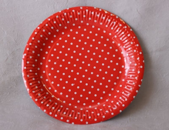 Dot Red Paper Plate (10)