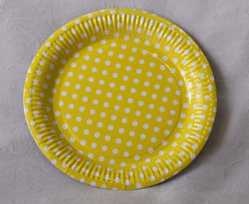 Dot Yellow Paper Plate (10)