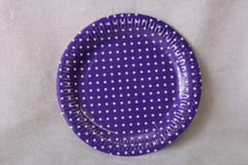 Dot Purple Paper Plate (10)