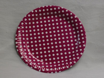 Dot Hot Pink Paper Plate (10)