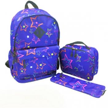 Island Club School Bag Set - Blue Stars