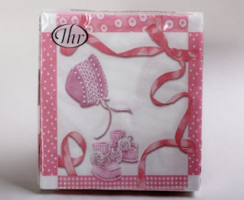 Pink Baby Booties 3 Ply Serviette (20)