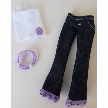 Doll Clothing Denim, Summer Top with necklace