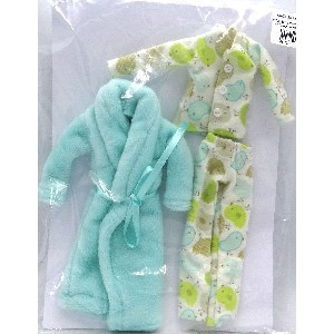 Doll Clothing Pajamas and Turquoise/Green Gown