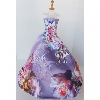 Doll Clothing Princess Dress Floral Purple