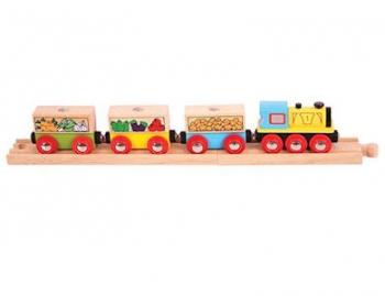 Bigjigs Rail Fruit & Veg Train (incl 2 Rails)