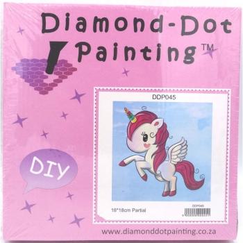 Diamond Dot Painting Pink Unicorn 19x19