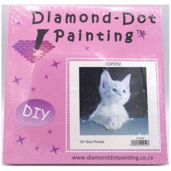 Diamond Dot Painting Snow Kitty 19x19