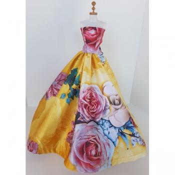 Doll Clothing Princess Dress Floral Yellow