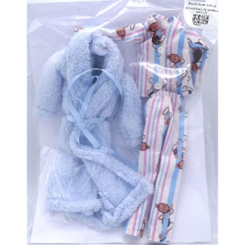 Doll Clothing Pajamas and Blue Gown