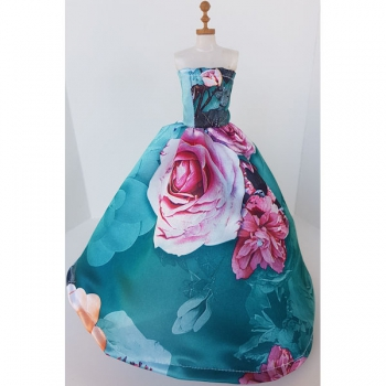 Doll Clothing Princess Dress Floral Turquoise