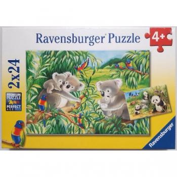 Ravenburger Puzzles Sweet Koalas and Pandas 2x24Pc
