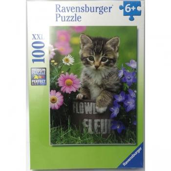 Ravensburger Puzzles 100Pce Kitten Among the Flowe