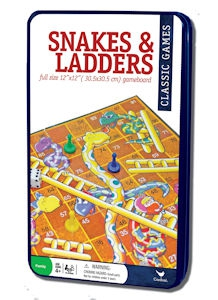 Snakes And Ladders In Tin Board Game