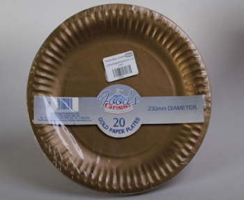 230 mm Gold Paper Plate (20)