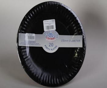 230 mm Black Paper Plate (20)